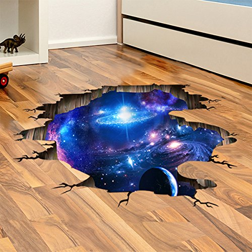 iwallsticker DIY Removable 3D Universe Galaxy Wall Decals Wall Stickers for Kids Room Bathroom Living Room Bedroom Widown Kitchen Home Decor