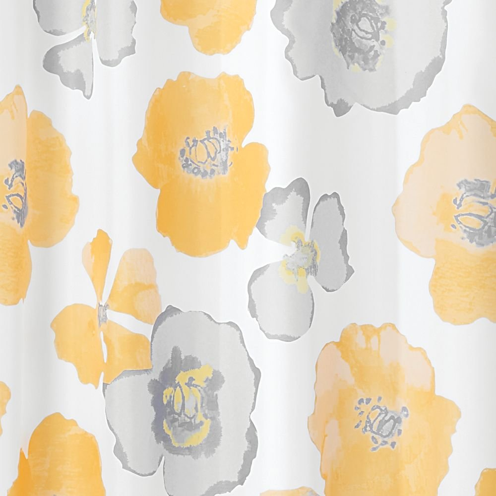 cortina de ba/ñera de poli/éster con motivos florales de 183 cm x 183 cm multicolor InterDesign Botanical Poly Cortina de ducha para el ba/ño