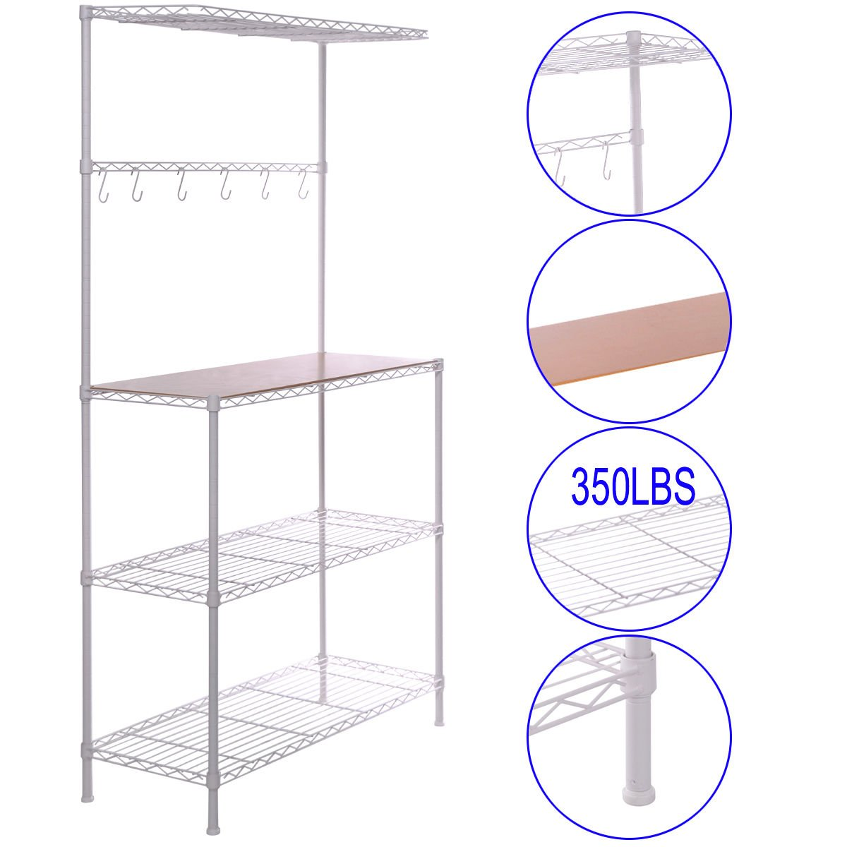 White Bakers Rack with Cutting Board Prep Table Storage Kitchen Work Pongwitshop