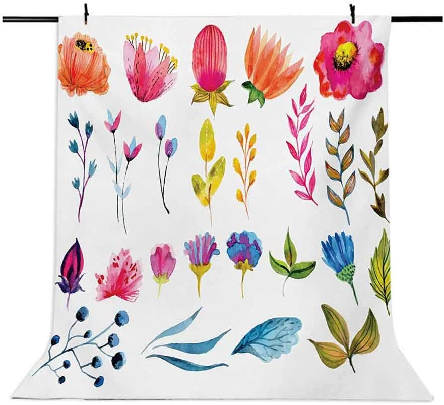 Watercolor 10x12 FT Photo Backdrops,Various Types of Gardening Plants Artistic Flowers Spring Nature Soft Blossoms Background for Baby Shower Bridal Wedding Studio Photography Pictures Multicolor