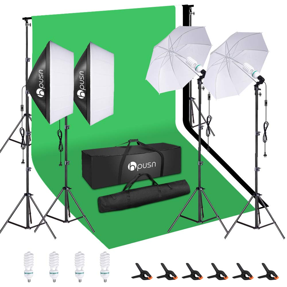 HPUSN Softbox Lighting Kit Studio Lighting Kit with 2 20-in X 28-in Reflectors and 2 Soft Umbrellas, 4pcs E27 85W 5500K Bulb and Max 8.5ft x 10ft Background Support System for Photography Video, etc. by HPUSN
