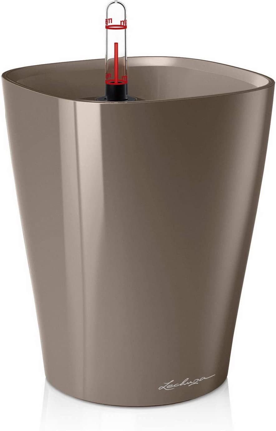 Lechuza 14904 Deltini Self-Watering Garden Planter for Indoor and Outdoor Use, Taupe
