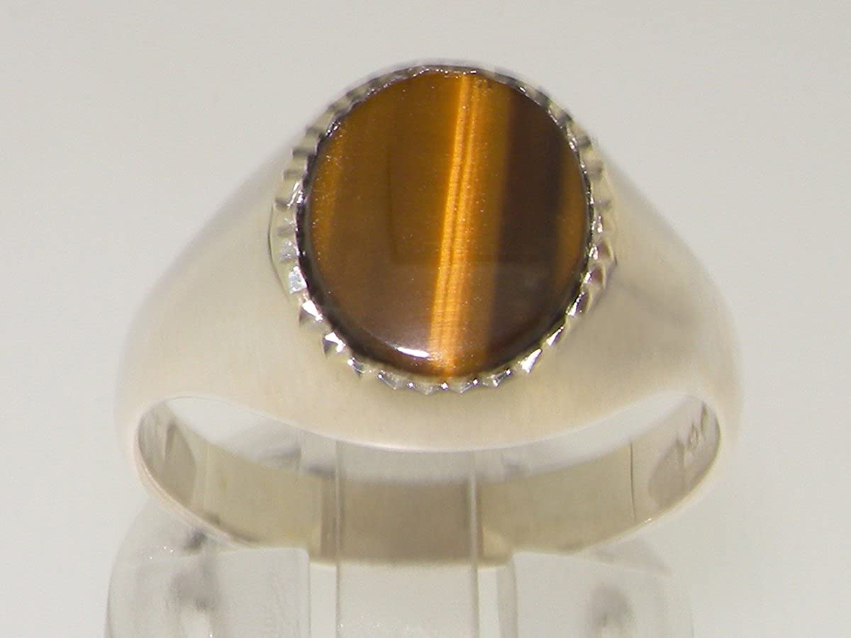 Solid 925 Sterling Silver Natural Tigers Eye Mens Gents Signet Ring Sizes 6 to 13 Available