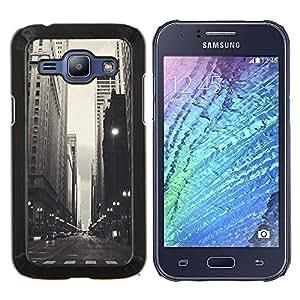 LECELL--Funda protectora / Cubierta / Piel For Samsung Galaxy J1 J100 -- Negro Blanco Calles --