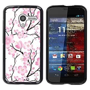 Paccase / SLIM PC / Aliminium Casa Carcasa Funda Case Cover para - Wallpaper Pink Flowers Floral Tree Branch - Motorola Moto X 1 1st GEN I XT1058 XT1053 XT1052 XT1056 XT1060 XT1055
