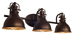 "Kira Home Beacon 26.5"" 3-Light Traditional Vanity/Bathroom Light, Oil Rubbed Bronze Finish"