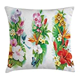48 Inch Square Ottoman YVSXO Watercolor Flower House Decor Throw Pillow Cushion Cover, Tropical Christmas Bouquet Tropic Hibiscus Bloom Leaf Butterfly, Decorative Square Accent Pillow Case, 18 X 18 Inches, Multi