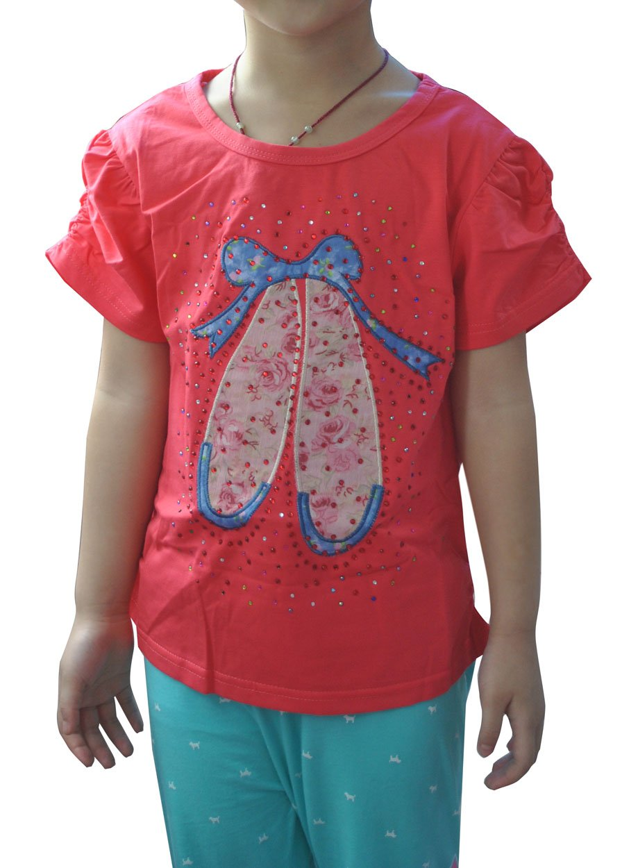 Annisking Girls' Printing Rhinestone Lace Short-sleeved T-shirt Red-bb08