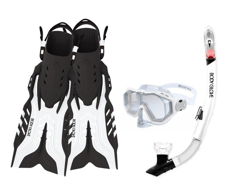 Body Glove Aquatic Predator Purge Mask Snorkel and Fins Set White//Black Body Glove Wetsuit Co 17810PSET-L-WHTBLK Large