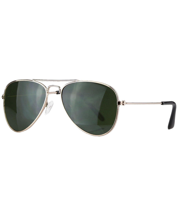 Caripe Kinder Mädchen Jungen Pilotenbrille verspiegelt Fliegerbrille Metall Sonnenbrille Retro - pil