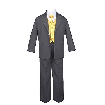 Amazon.com: leadertux 7pc Formal Boy gris oscuro Suit extra ...