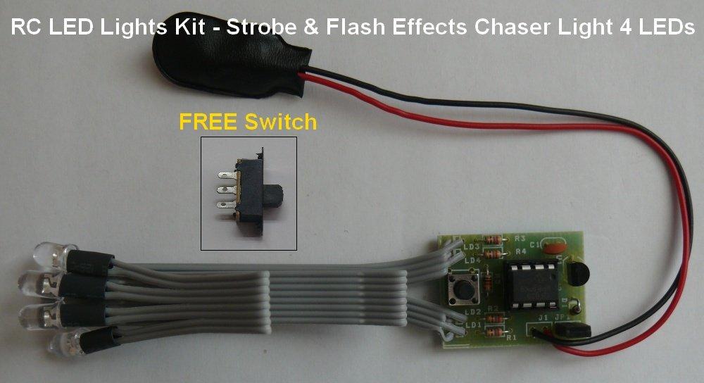 HOBBYKIT RC LED Lights Kit - Strobe & Flash Effects Chaser Light 4 LEDs - 5mm - 4 Yellow