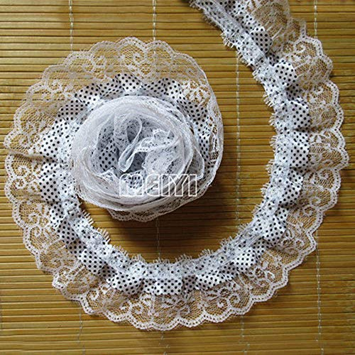 2 Yard 2-Layer Pleated Organza Polka Dot Ruffled Satin Lace Edge Gathered Net Trim Ribbon 2