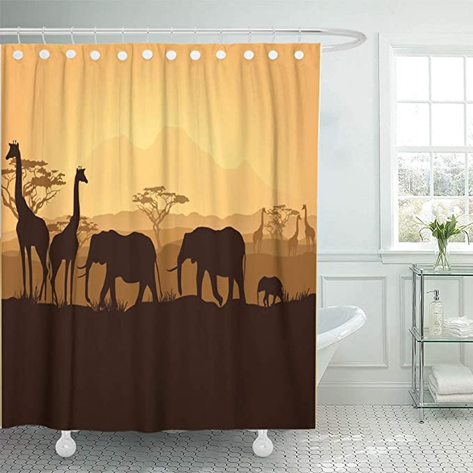 "Fennec Fox on a Tree in Africa Bathroom Waterproof Fabric Shower Curtain 71/"""