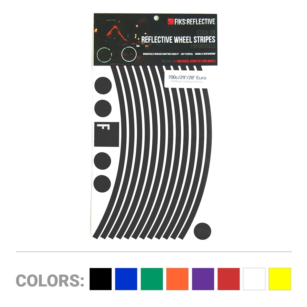 FIKS:Reflective Wheel Stripes Best Quality Long Lasting Bicycle Reflector Sticker - Black