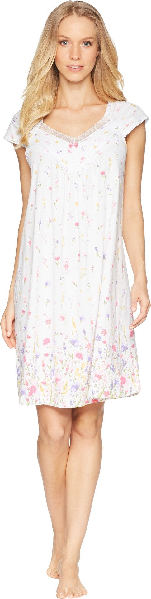 Carole Hochman Women's Meadow Flower Robe and Chemise Travel Set, Meadow Floral Border, S
