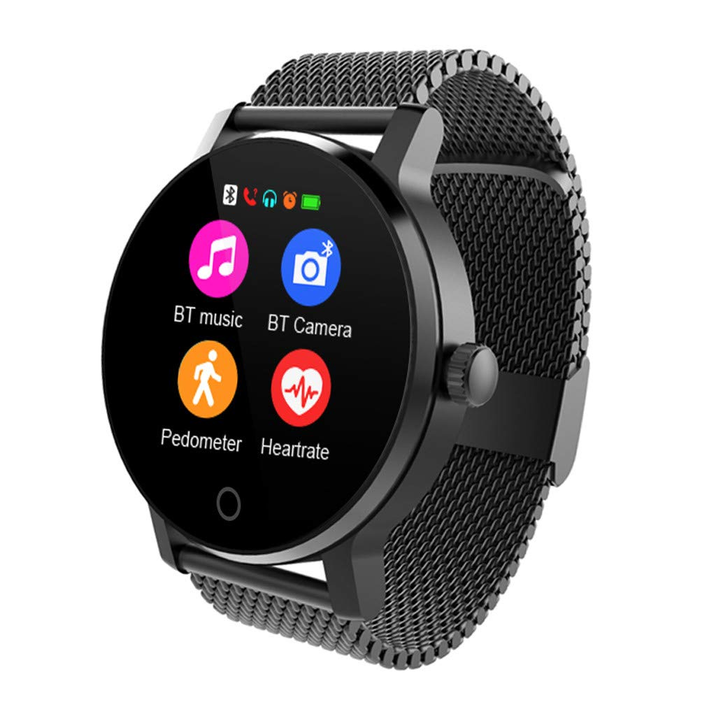 For iOS Android, Waterproof Sport Smart Watch Fitness Blood Pressure Heart Rate Monitor Remote Photo Smart Bracelet (D)