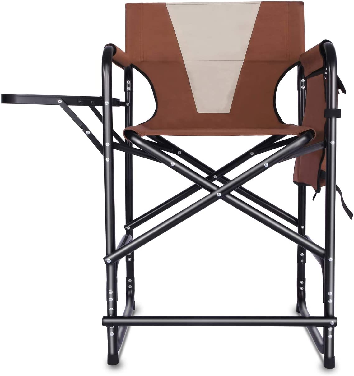 Tall Director s Chair Folding Portable Camping Chair, Makeup Artist Collapsible Chair with Side Table Storage Bag Footrest, Supports 300LBS
