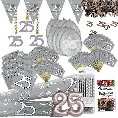 Silberhochzeit Party Deko Set XL 103-teilig 25 Jahre Jubilä um Silber Hochzeit Kit schmelterland