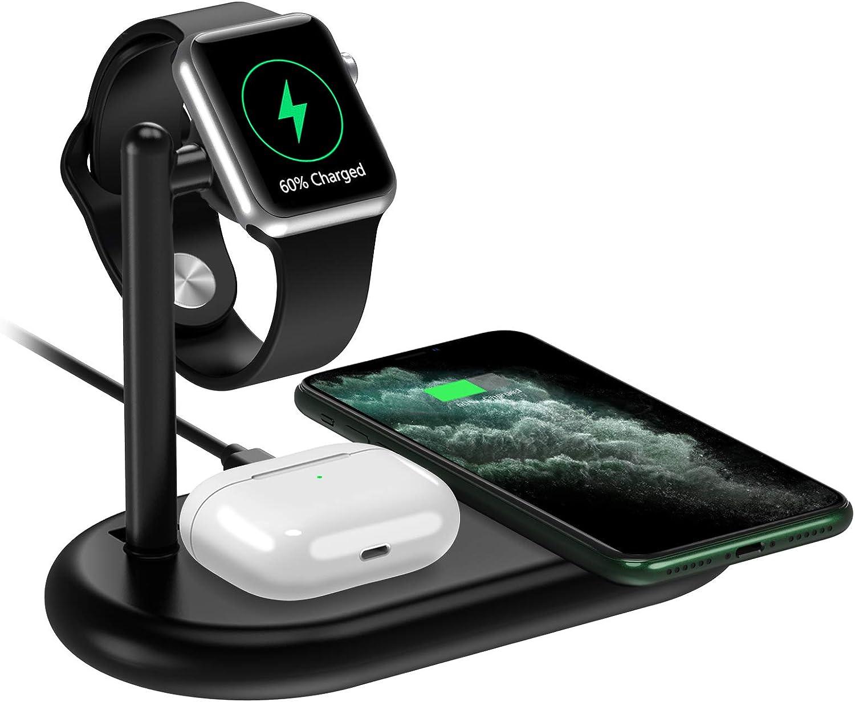 yootech Cargador Inalámbrico Rápido 3 en 1, Qi 7.5W para iPhone SE 2020/11/11 Pro MAX/X/XS MAX/8,10W para Galaxy S20/S10/S8/Note 10,2.5W para AirPods Pro,iWatch(NO Cable de Carga iWatch y Adaptador)