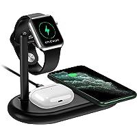 yootech Cargador Inalámbrico Rápido 3 en 1, Qi 7.5W para iPhone SE 2020/11/11 Pro MAX/X/XS MAX/8,10W para Galaxy S20/S10…
