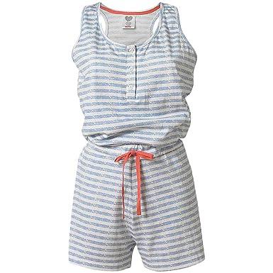 88de19e7f76 Love to Sleep Striped Soft Jersey Sleepless Women s Playsuit Sleepsuit  Shorts - Blue Stripe - 10