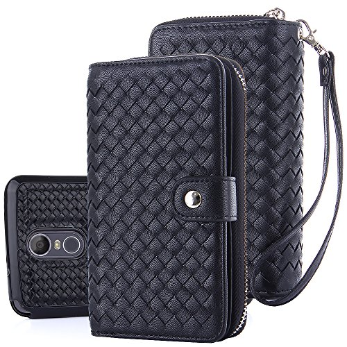 TabPow LG Stylo 3 Case,Weave Zipper Cash Slot, Card Slots, Button, Leather Wallet Case Cover With Detachable Case For LG Stylo 3/ LG Stylo 3 Plus - Weave Black