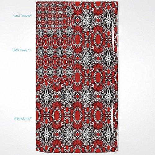 85d98e88971a iPrint Red Mandala Quick Dry Plush Microfiber (Towel+Square Scarf+Bath  Towel) Doodle Flowers Swirls Tribal Ethnic Kaleidoscope Ethnic Style and  Adapt ...