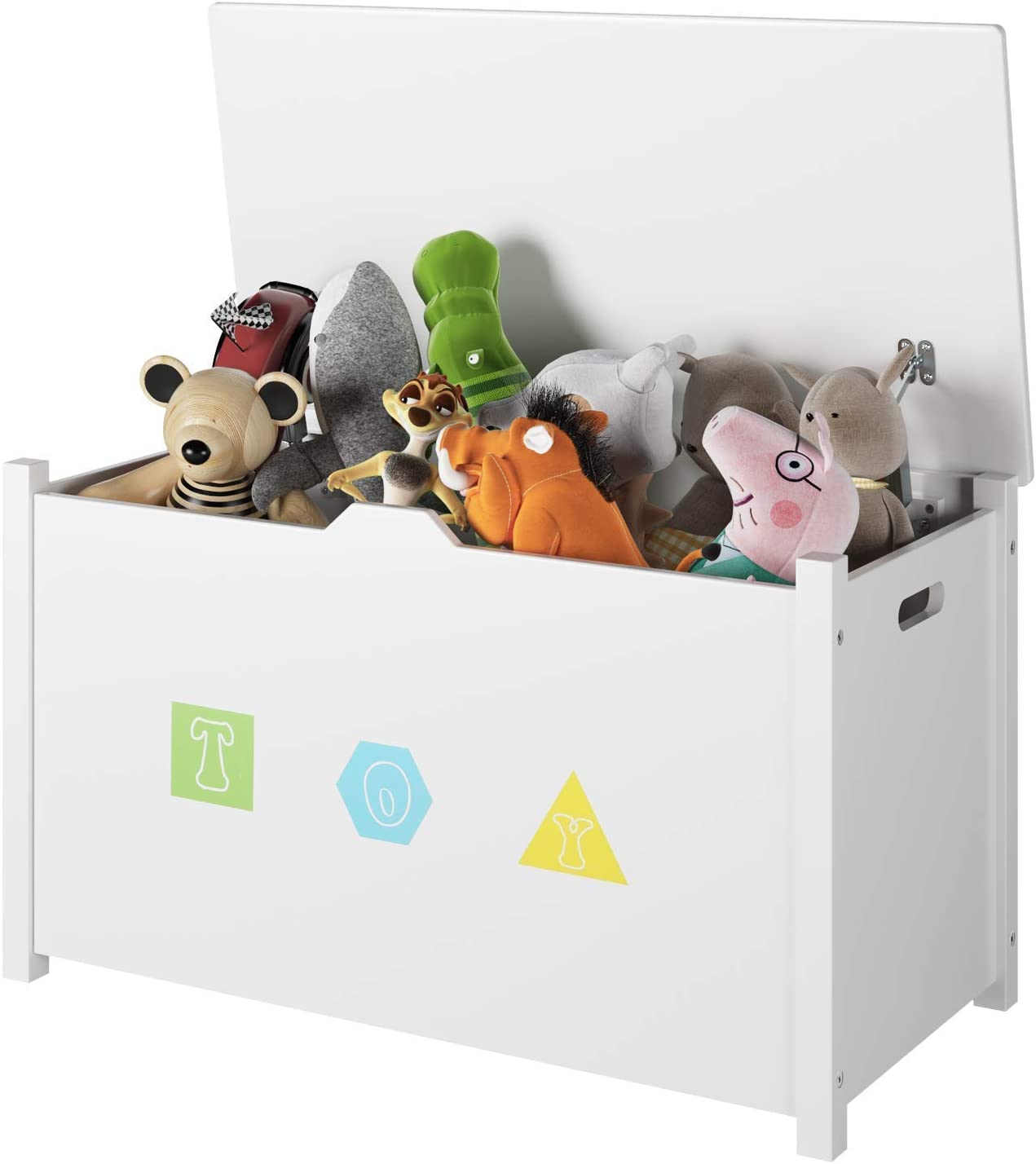 Homfa Children Toy Storage Cabinet with Lid Handles Wooden Storage Chest Toy Box for Nursery Bedroom Playroom White 80x39.8x46cm