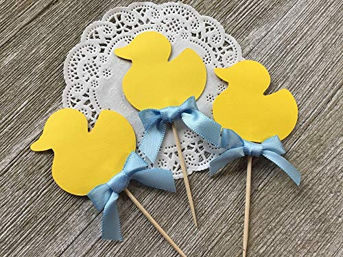 (Yellow Duck Cupcake Toppers - Rubber Ducky Theme - Baby Boy Shower (Set of)