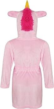 Girls Bathrobe 3D Animal Unicorn Cerise Dressing Gown Fleece Night Lounge Wear