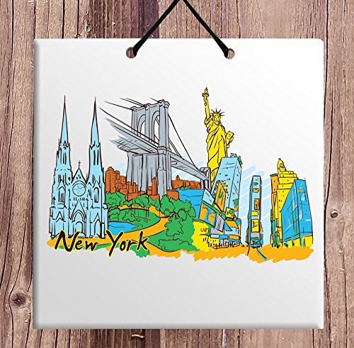 Body-Soul-n-Spirit New York Central Park Statue of Liberty Empire State Building Rockefeller tile souvenir sign ceramic wall plaque - fabulous city gift for home USA