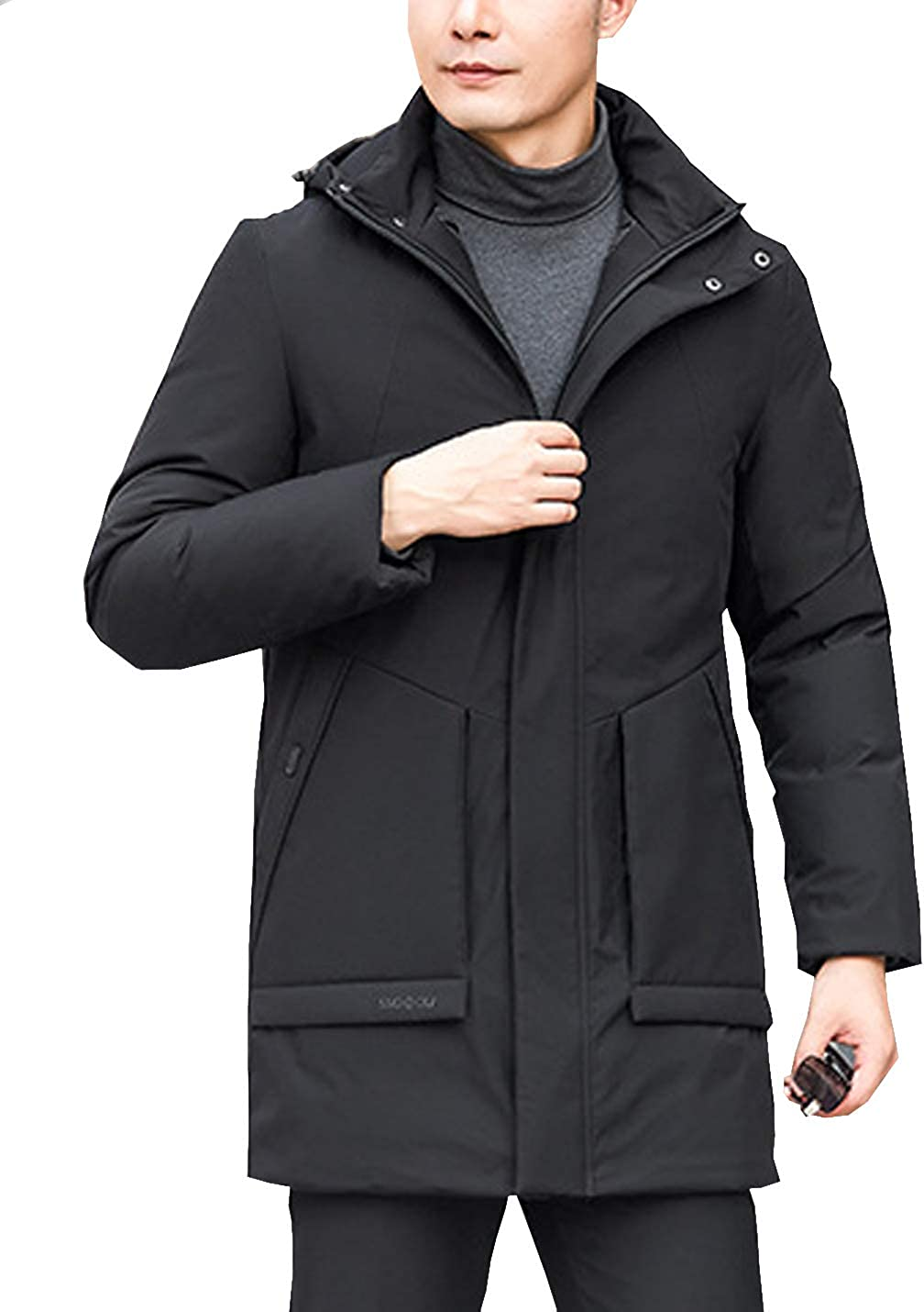 D.B.M Mens Casual Cold-Resistant Mid-Length Thick Warm Hooded Down Coat