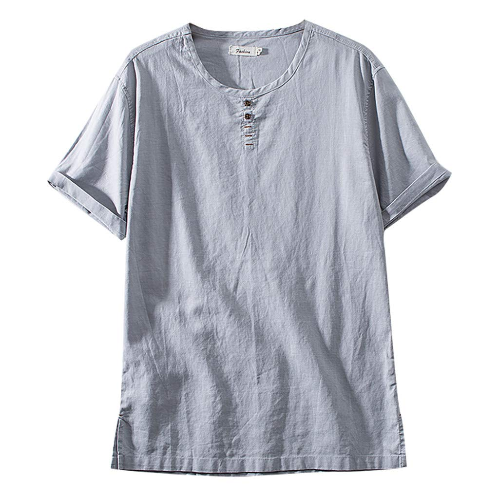 BOOMJIU Short Sleeve T Shirts for Men Linen and Cotton Round Neck Casual Short Sleeve Tee Gray