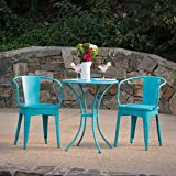 Leona Outdoor Iron 3 Piece Bistro Set (Matte Teal) Review