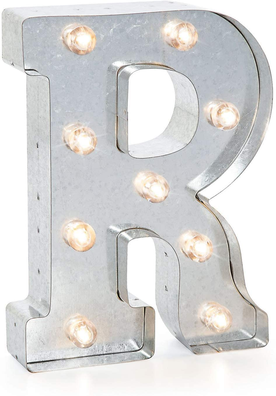 """Darice Silver Metal Marquee Letter – R-9.87"""" Tall, Galvanized Finish, 9.88"""""""
