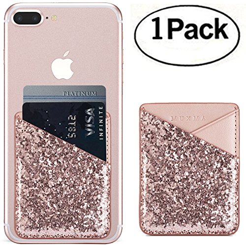 Phone Card Holder 3M Adhesive Stick-on ID Credit Card Wallet Phone Case Pouch Sleeve Pocket for Most of Smartphones(iPhone/Android/Samsung Galaxy) - (Rose)