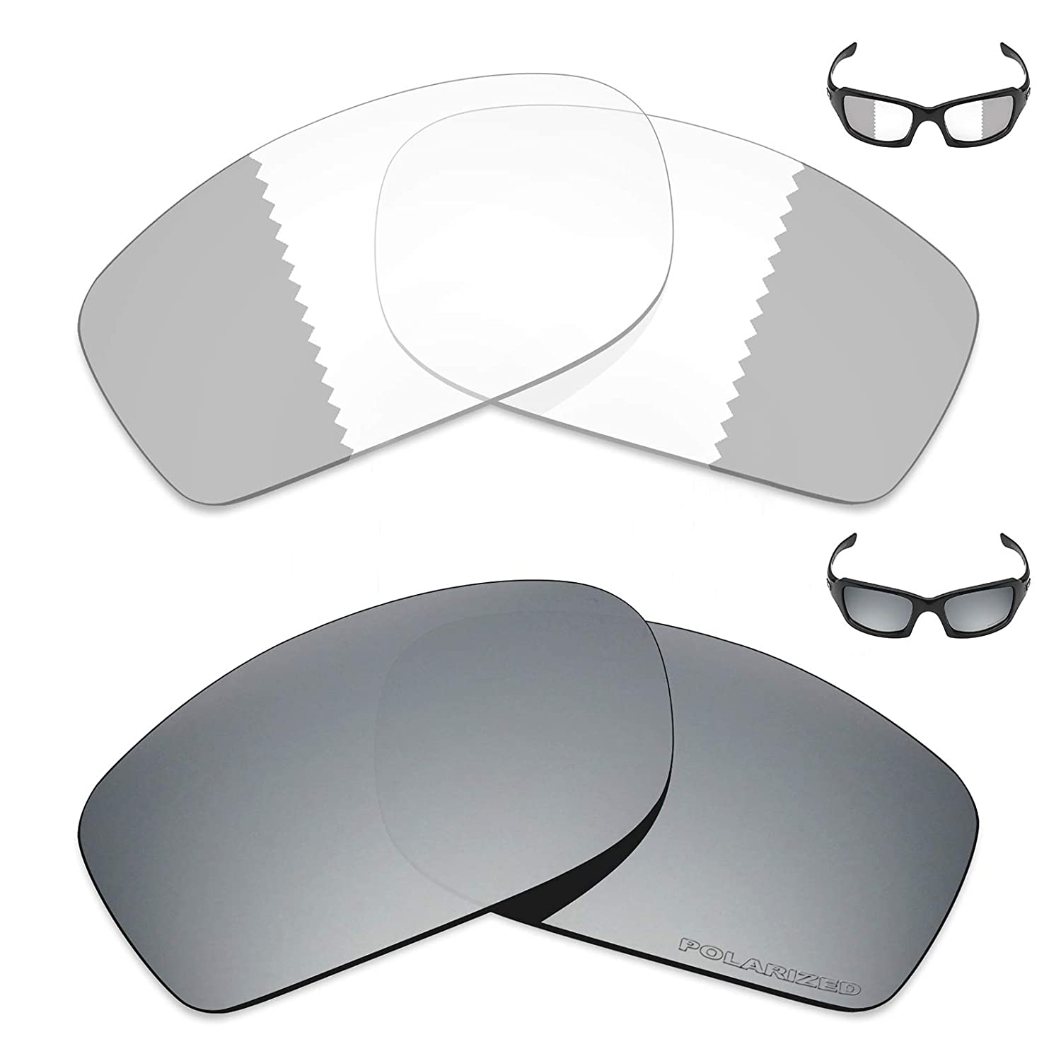 5068c35f93b Amazon.com  Mryok+ 2 Pair Replacement Lenses for Oakley Fives Squared  Sunglass - Eclipse Grey Photochromic Silver Titanium  Sports   Outdoors