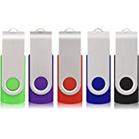 RAOYI 5pcs 32GB USB Flash Drive Memory Stick Fold Storage Thumb Stick Pen Drive U Disk Swivel Design (5 Mixed Colors: Black Red Blue Green Purple)