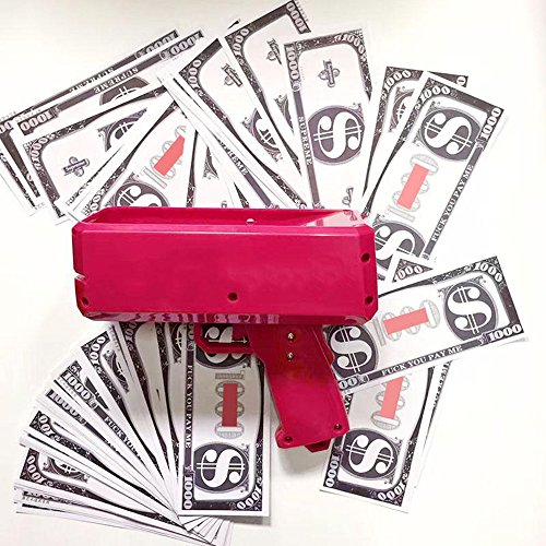 Money Gun with LED Spotlights Make It Rain Dollar Bill Gun Box Plastic Shot Spread the Money toys for kids