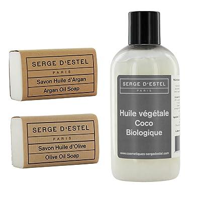 Aceite de Coco copra Bio 250ml. Jabón de l aceite D Argan 120G. jabón con L aceite D oliva 120G. cuidado piel seca.