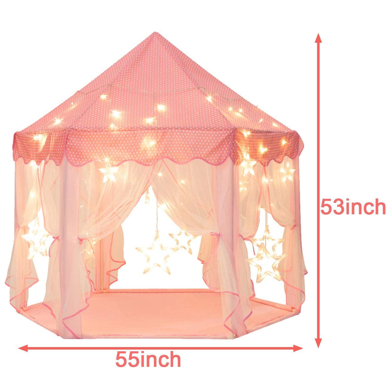 Sunnyglade 55'' x 53'' Princess Tent with 8.2 Feet Big and Large Star Lights Girls Large Playhouse Kids Castle Play Tent for Children Indoor and Outdoor Games by Sunnyglade (Image #4)