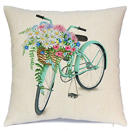 AENEY Blue Bicycle Flower Vintage Spring Home Decorative Throw Pillow Case Cushion Cover Cotton Linen Home Decor for Couch Sofa Bed Chair 18 X 18 Inch from AENEY