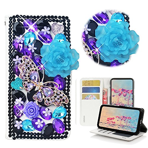 (STENES Bling Case Compatible Galaxy A10 - STYLISH - 3D Handmade Crystal Rose Butterfly Flowers Magnetic Wallet Leather Cover Compatible Samsung Galaxy M10 / Samsung Galaxy A10 - Violet)