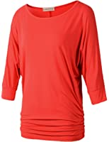 LARACE Womens Dolman Sleeves Drape Tops Solid Side Shirring Jersey Tee