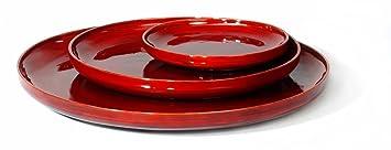 Artra Bambus Deko Schalen 3er Set 50cm Durchmesser Design Teller