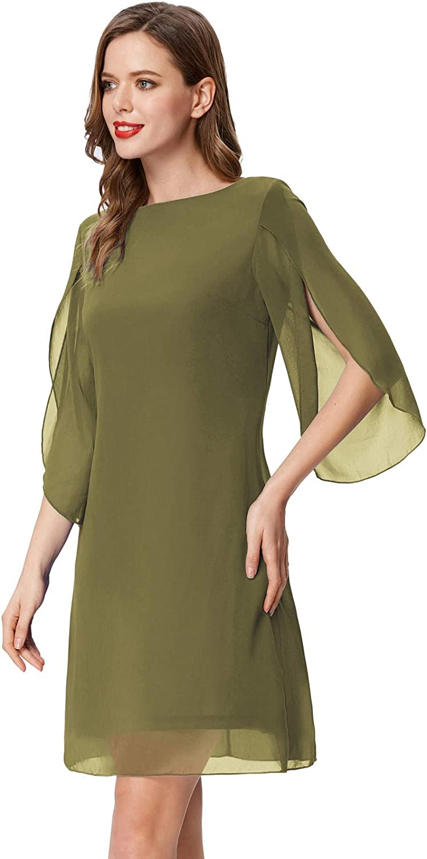 GRACE KARIN Vestido de Mujer de Verano Vestido de Gasa Manga Corta Gasa de Verano Top Informal Cuello Redondo