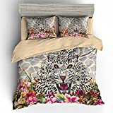 BOMCOM 3D Digital Printing Watercolor Illustration Leopard Sketch Tropical Exotic Leaves Flowers 3-Piece Duvet Cover Sets 100% Microfiber Camel(queen, Leopard & Flowers)
