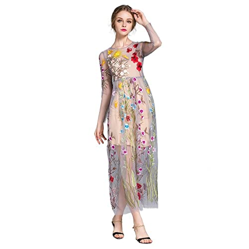 DEZZAL Womens Floral Embroidered Tulle Prom Maxi Dress with Cami Dress