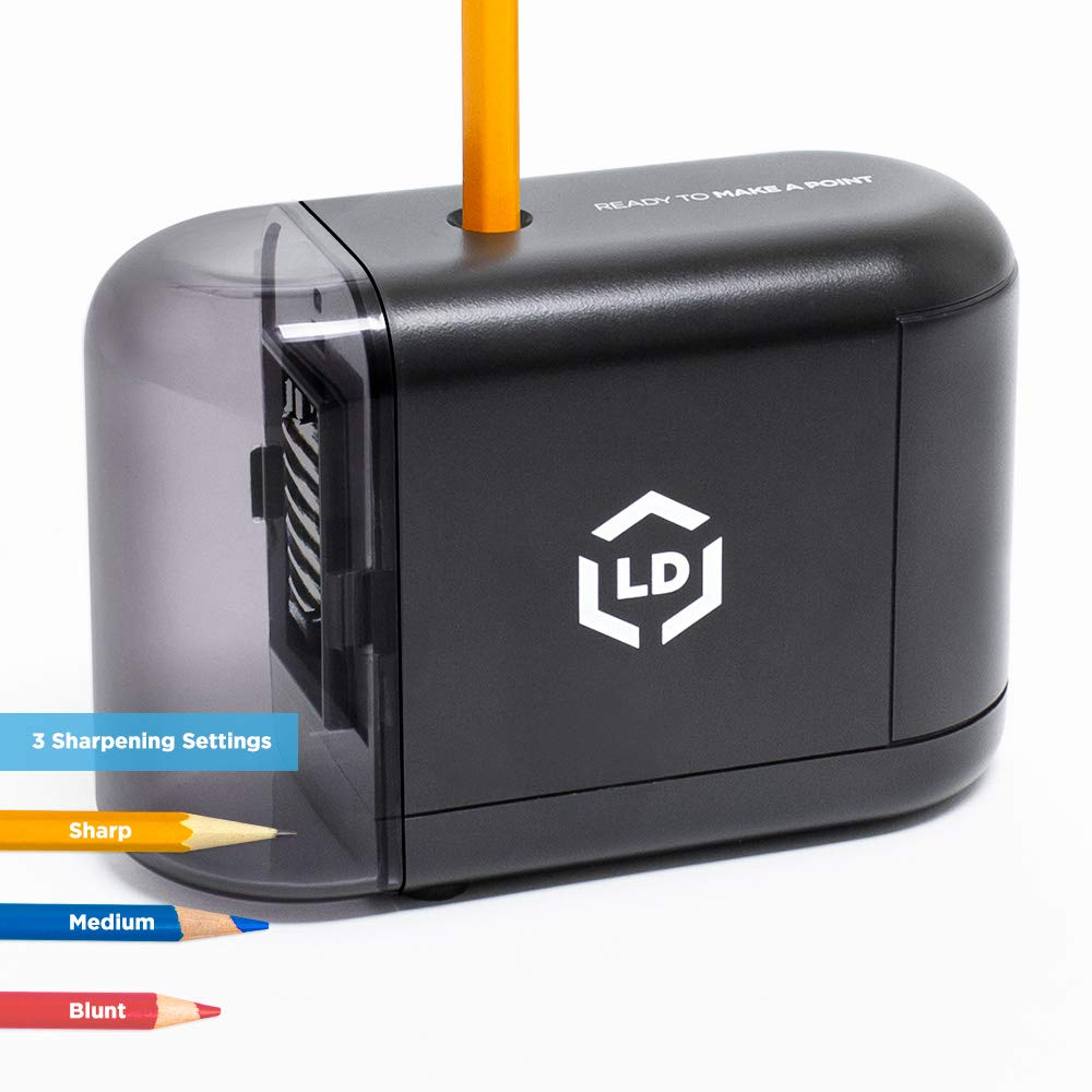 LD Products Electric Pencil Sharpener, Wall Power Supply Included - Professional, Home and Office - Small, Durable, Heavy Duty, Kid Friendly, 3 Sharpening Settings by LD Products (Image #1)